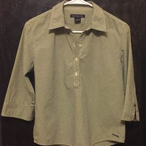 Green and white half-button down, 3/4-sleeve Top